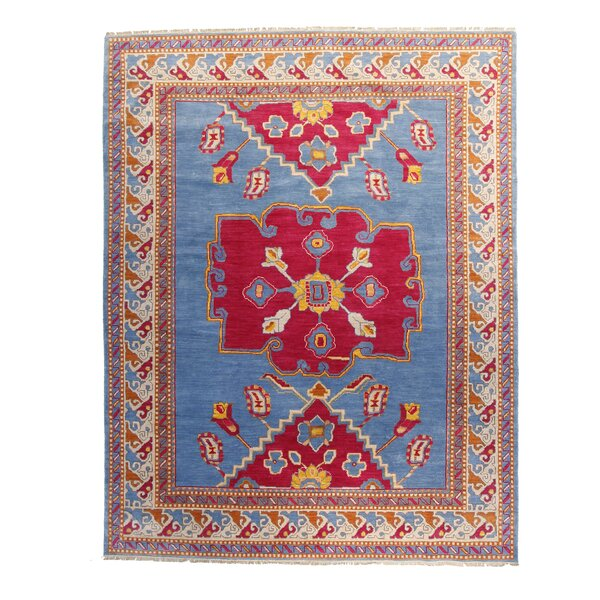One-of-a-Kind Hort Hand-Knotted 8 x 10 Wool Blue/Pink Area Rug by Bloomsbury Market