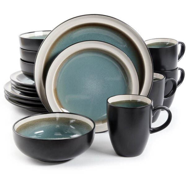 Central Ridge 16 Piece Dinnerware Set, Service for 4 by Gibson