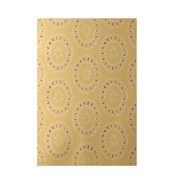 Alexis Floral Print Yellow/Coral Indoor/Outdoor Area Rug by Ebern Designs
