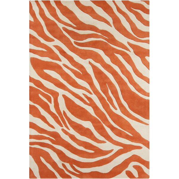 Everlee Patterned Contemporary Wool Hand-Tufted Orange/White Area Rug by Bloomsbury Market