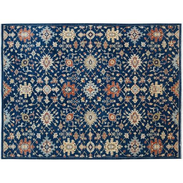 Badham Hand-Knotted Wool Blue/Orange Area Rug by Bloomsbury Market