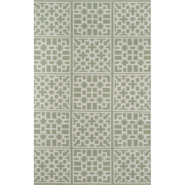 Palm Beach Lake Trail Handwoven Flatweave Green Indoor/Outdoor Area Rug