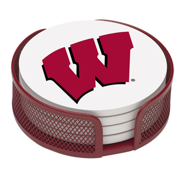 5 Piece University of Wisconsin Collegiate Coaster Gift Set by Thirstystone