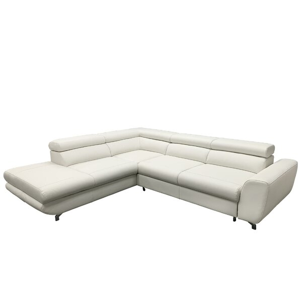 Review Beldale Left Hand Facing Leather Sleeper Sectional