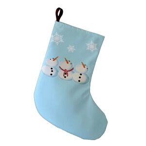 Coastal Christmas 3 Wise Snowmen Geometric Print Stocking