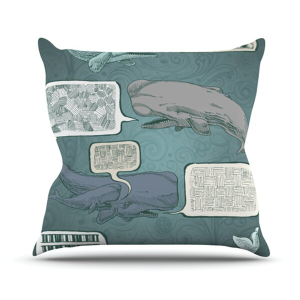 Whale Talk Outdoor Throw Pillow by East Urban Home