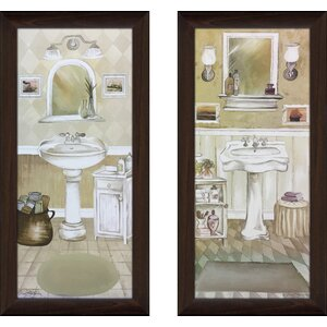 'Seaside Bath III' 2 Piece Framed Print Set by Red Barrel Studio