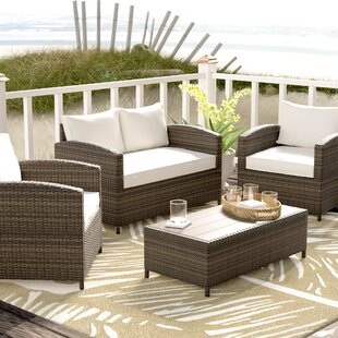 Marybeth 4 Piece Sofa Seating Group with Cushions By Beachcrest Home