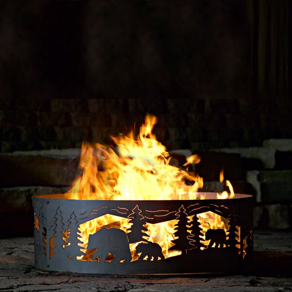 Bear N Cub Steel Wood Burning Fire ring by P & D Metal Works