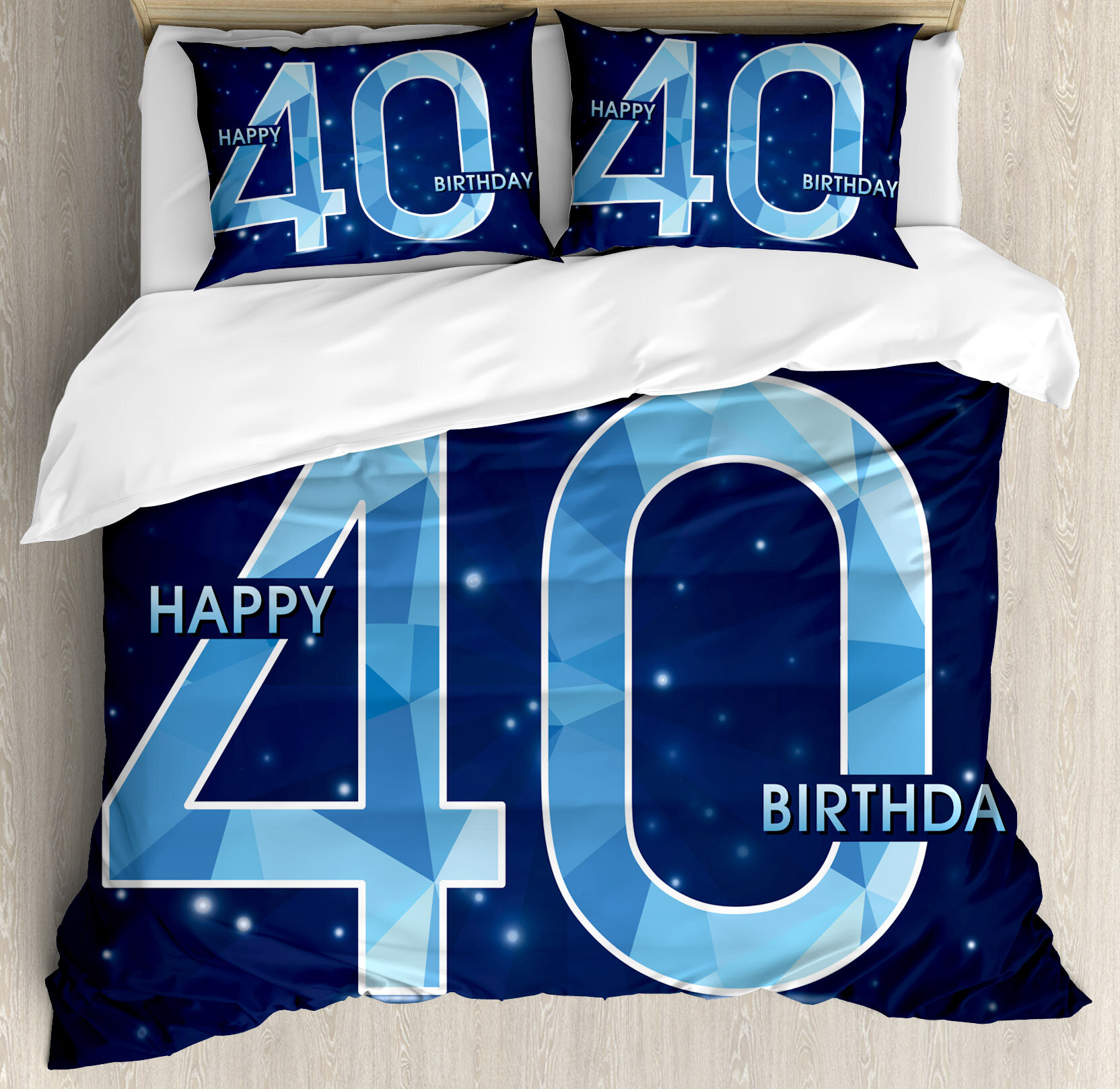 Ambesonne 40th Birthday Decorations Abstract Modern Design Geometrical Number Forty Emblem Duvet Cover Set