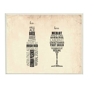 'His And Hers Wine And Beer' Framed Textual Art On Wood by Andover Mills
