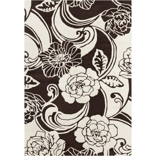 Check Prices Medford Floral Black/White Area Rug By Red Barrel Studio