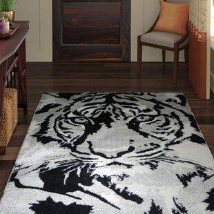 Inexpensive Maggiemae Tiger Design Cotton Black/Gray Area Rug ByWorld Menagerie