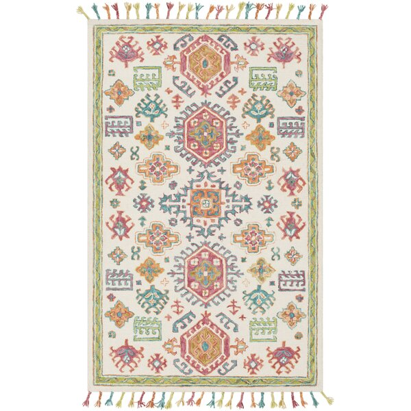 Alongi Hand Hooked Wool Ivory/Grass Green Area Rug by Bungalow Rose