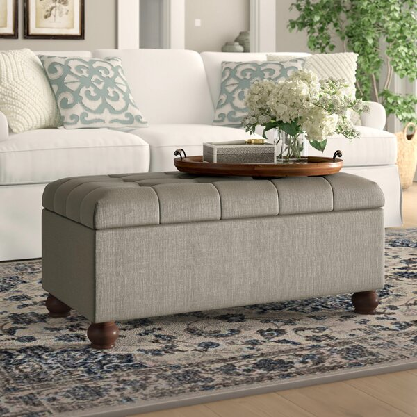 Review Oakbrook Upholstered Flip Top Storage Bench