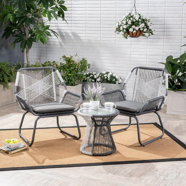 Fidel Outdoor 3 Piece Rattan 2 Person Seating Group with Cushions by Wrought Studio