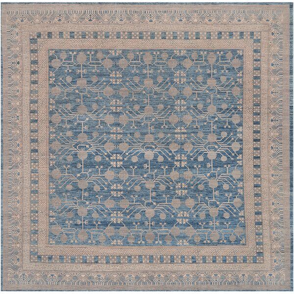 One-of-a-Kind Khotan Handwoven Wool Brown/Blue Indoor Area Rug by Mansour
