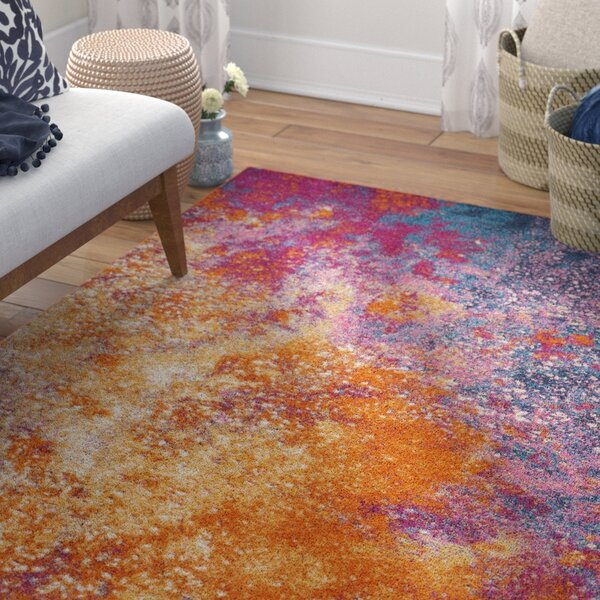 Shortwood Pink/Yellow Indoor Area Rug by Viv + Rae
