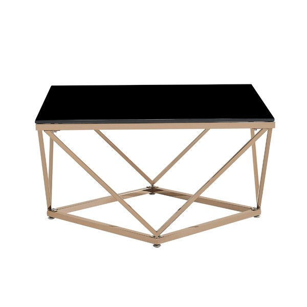 Mote Modern Glam Tempered Glass And Stainless Steel Coffee Table With Tray Top By Wrought Studio