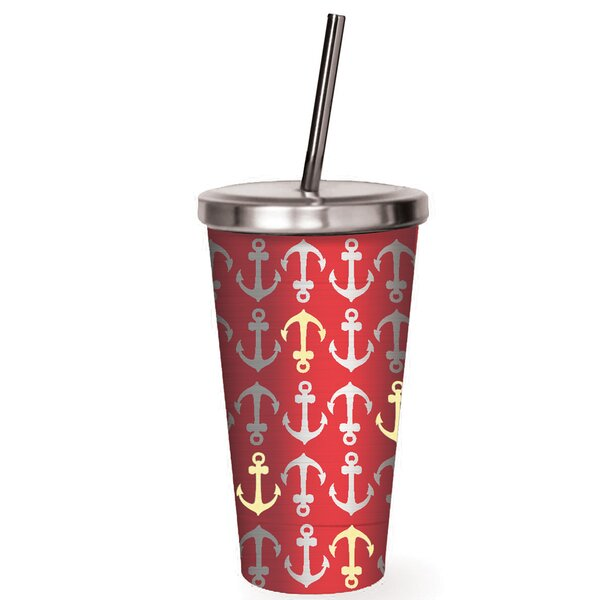 Freeport Anchors Away Stainless Steel 16 oz. Insulated Tumbler by Breakwater Bay