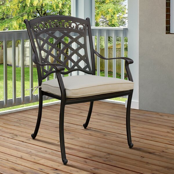Goodwin Patio Dining Chair with Cushion (Set of 4) by Red Barrel Studio