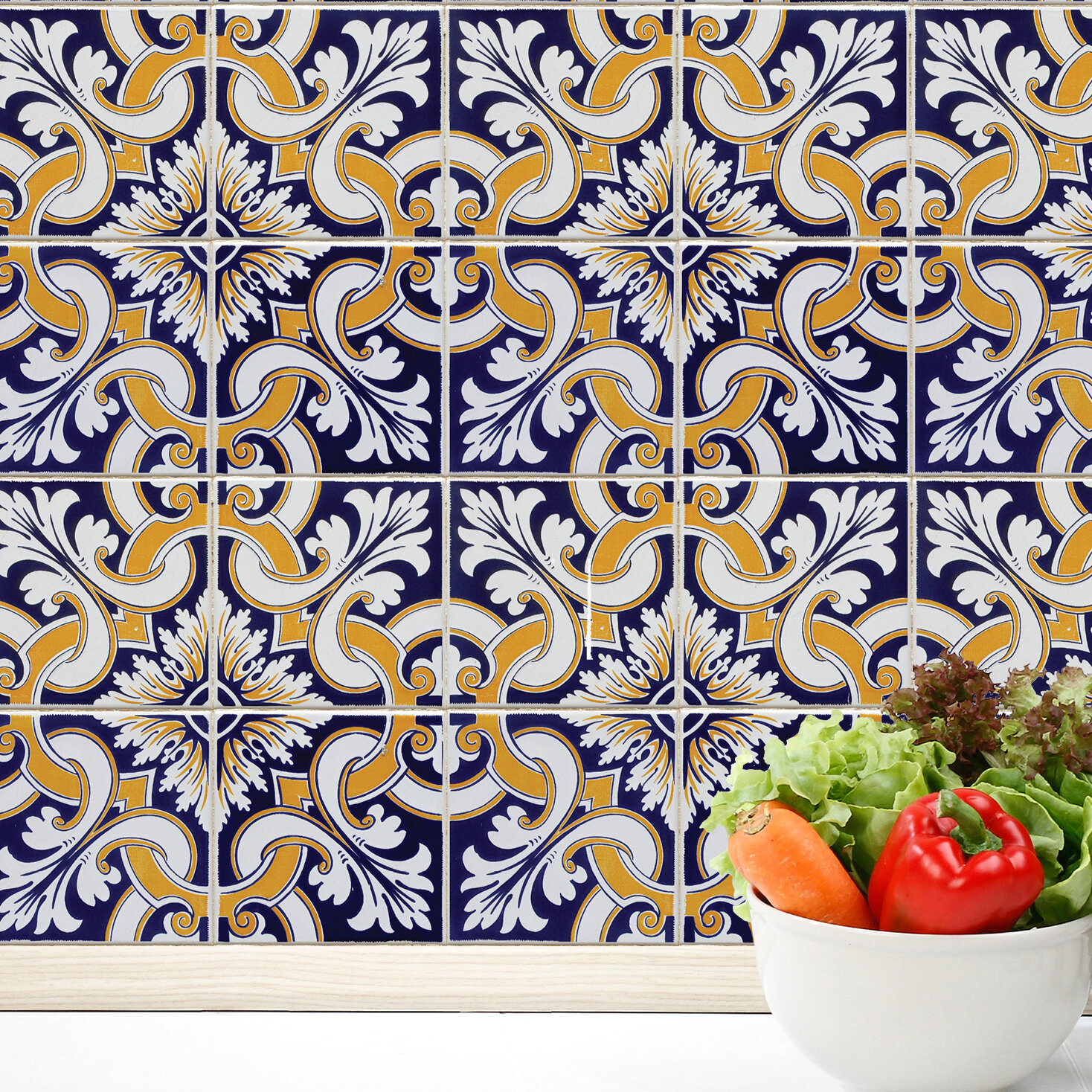 Shower tile decals wayfair talavera tiles wall decal dailygadgetfo Choice Image