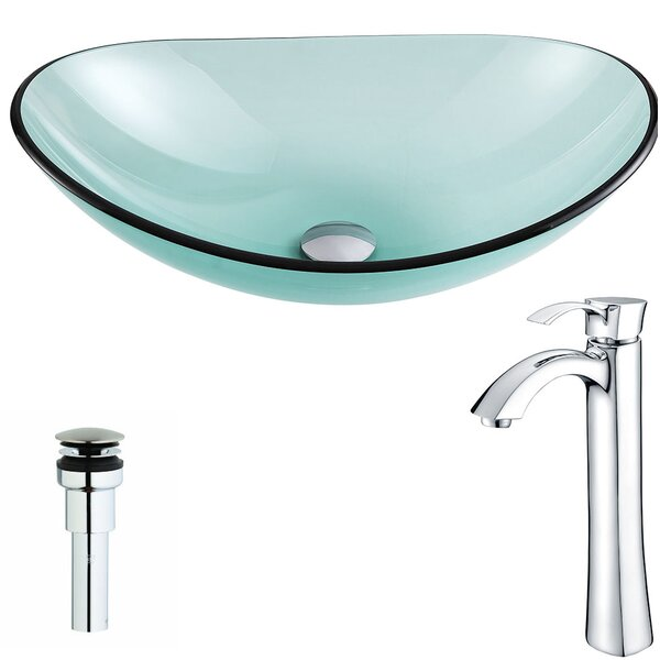 Major Glass Oval Vessel Bathroom Sink with Faucet by ANZZI