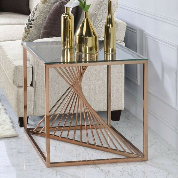Sherree Modern Geometric Metal Framed End Table by Everly Quinn