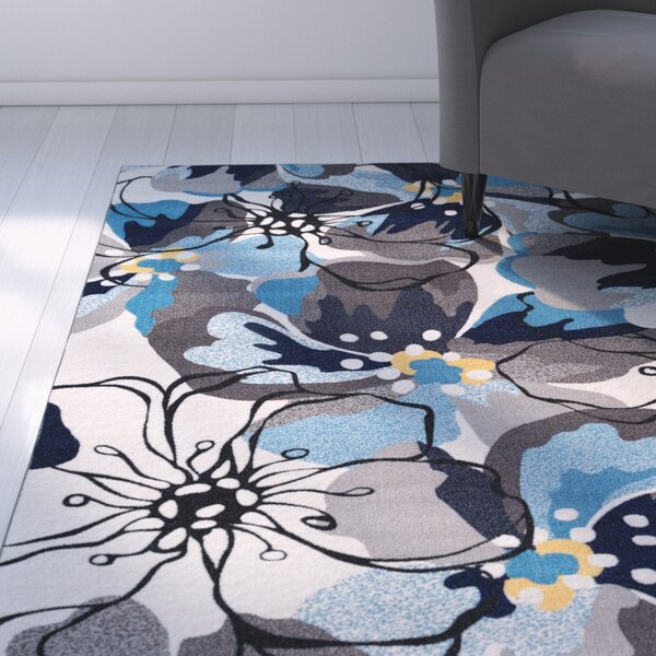 Princess Floral Gray/Blue Area Rug by Zipcode Design