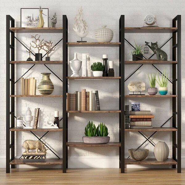 Imani Rustic Triple Etagere Bookcase by Williston Forge