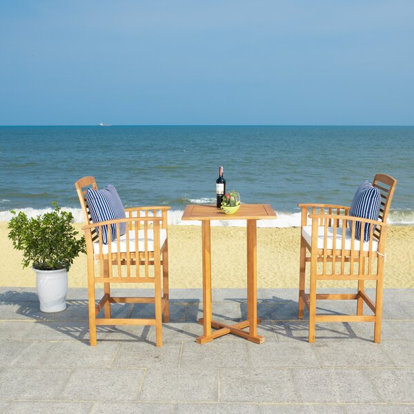 Eastford 3 Piece Bistro Set with Cushions by Gracie Oaks
