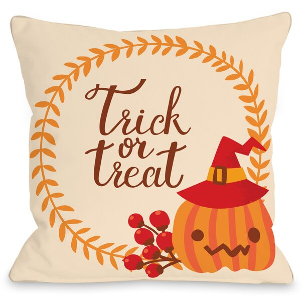 Trick or Treat Wreath Throw Pillow by One Bella Casa