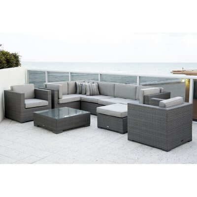 International Home Miami Sectional Seating Group Set Cushions Cushion Color Seating Groups