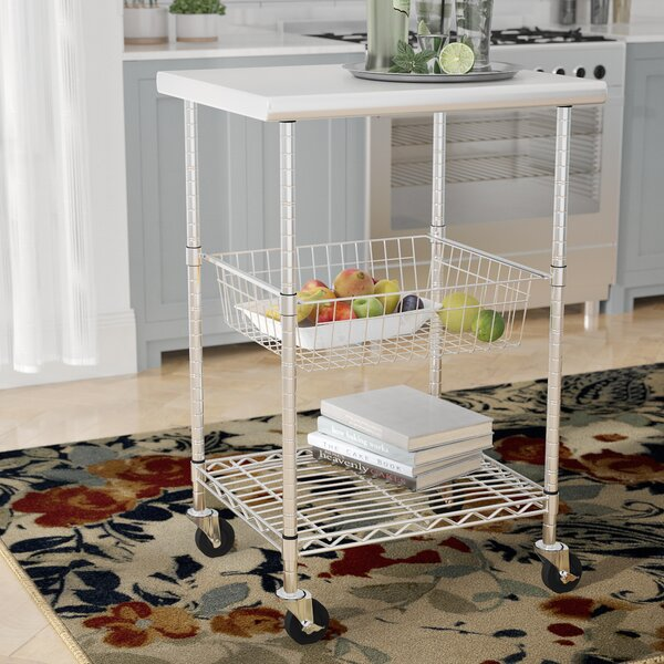 Earleville Kitchen Cart with Stainless Steel Top by Rebrilliant