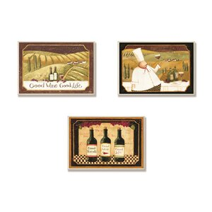 Good Friends, Wine and Life 3 Piece Wall Plaque Set by Stupell Industries