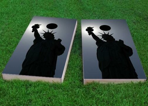 Lady Liberty in Moonlight Cornhole Game (Set of 2) by Custom Cornhole Boards