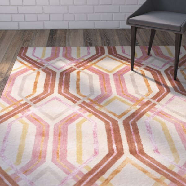 Clariandra Carnation/Rust Area Rug by Ivy Bronx
