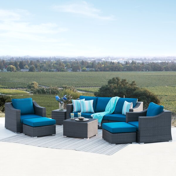 Castillo 9 Piece Sectional Seating Group with Cushions by Rosecliff Heights