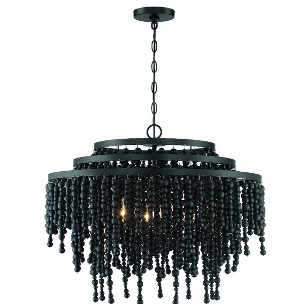 Poppy 6 - Light Unique / Statement Tiered Chandelier With Wrought Iron Accents By Crystorama