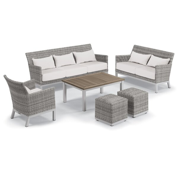 Lovejoy 6 Piece Rattan Conversation Set with Cushions by Bungalow Rose