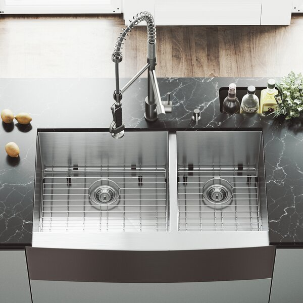 36 L x 22 W Double Basin Farmhouse Kitchen Sink with Zurich Faucet, Two Grids, Two Strainers and Soap Dispenser by VIGO