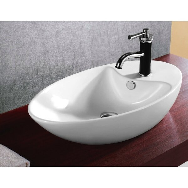 Ceramica Ceramic Oval Vessel Bathroom Sink with Overflow