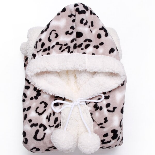 Leopard Ultra Plush Sherpa Lined Snuggle Up Animal Print Hoodie Wearable Blanket by Chic Home