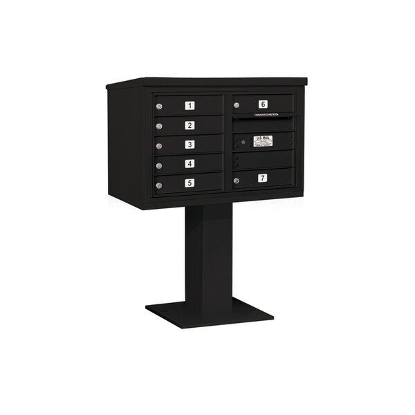 Pedestal Mounted 7 Units 8 Door Front Load 4C Horizontal Cluster Box Unit by Salsbury Industries