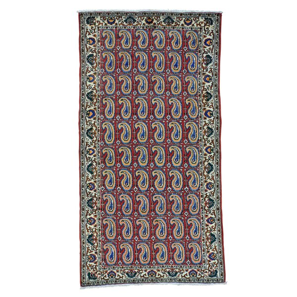 One-of-a-Kind Easterly Wide Persian Shiraz Paisley Hand-Knotted Red Area Rug by World Menagerie