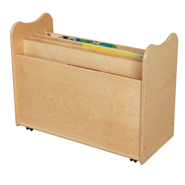 5 Compartment Book Display with Casters by Wood Designs