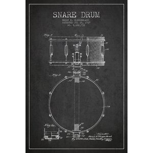 'Drum Charcoal Patent Blueprint' Vintage Advertisement on Wrapped Canvas by Williston Forge
