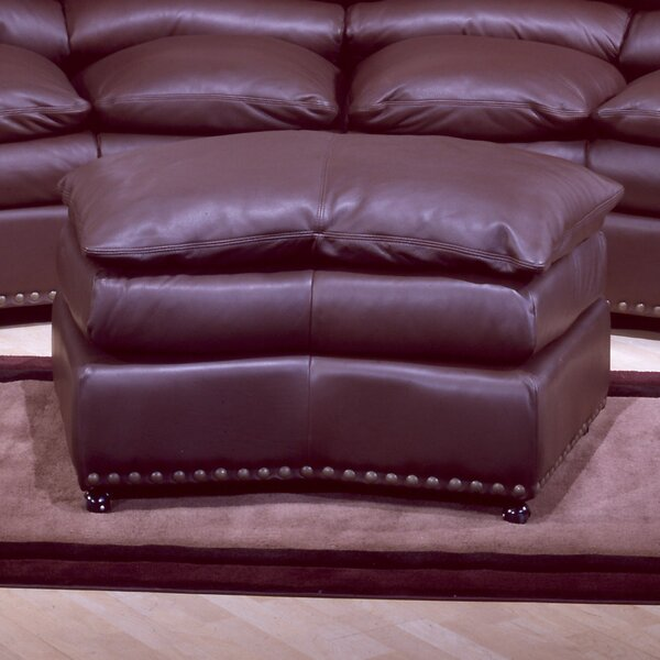 Williamsburg Jumbo Leather Ottoman by Omnia Leather