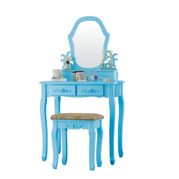 Brasfield Wood Dressing Table Vanity Set with Mirror by House of Hampton