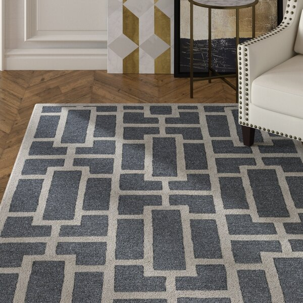 Perpetua Hand-Tufted Navy Area Rug by Mercer41